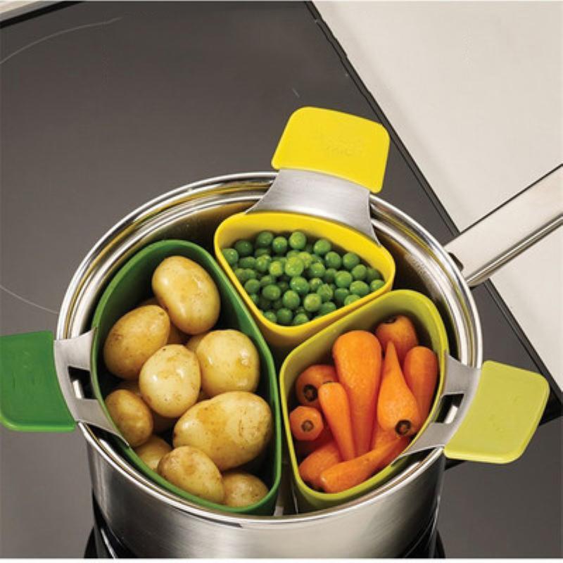 3 Adet / set Steamer Basket Silikon Buharlı Pişirici Anında Pot Sebze Fonksiyonlu Mutfak Aksesuarları Tencere Q190605 Pişirme İçin