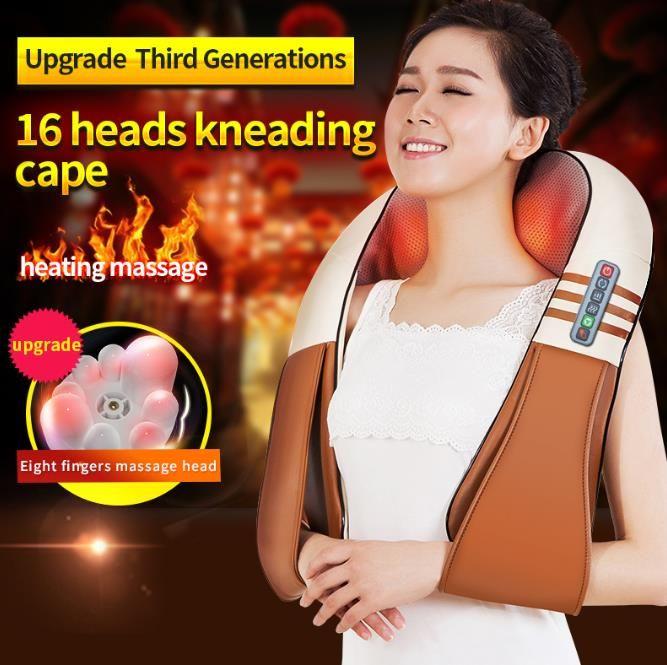 (مع علبة هدية) JinKaiRui U الشكل الكهربائية شياتسو العودة الرقبة الكتف مدلك الجسم الأشعة تحت الحمراء ساخنة العجن سيارة / المنزل Massagem