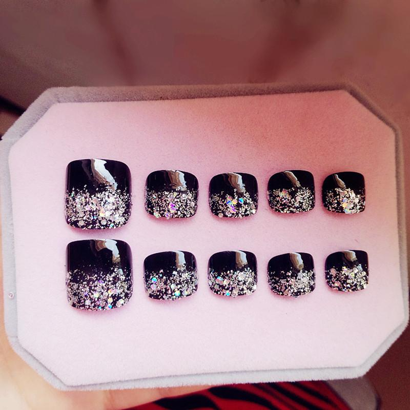 Nail Art False 24Pcs Artificial Toe Nails Glitter Silver Black Fake Toenail French False Nails Fashion Lady Nail Art Tips For Foot