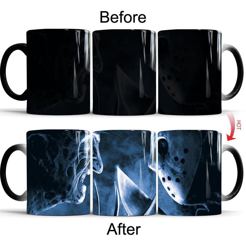 11 Oz Freddy Vs Jason Korku filmi Kahve Kupalar Isı Değiştirme Renk Kupa Süt Kupası Sihirli Seramik Isıya Duyarlı Bardaklar