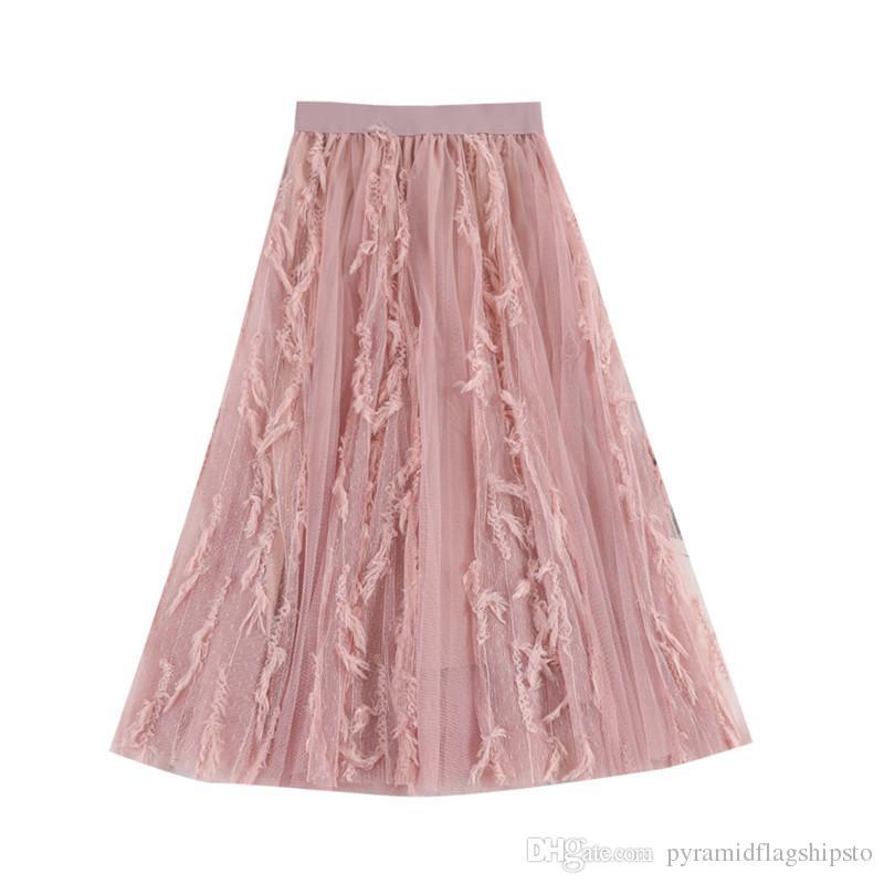 Hiawatha Tulle Jupes Femmes Noir Rose Blanche Bleue Taille Haute Jupes De Mode Patchwork De Plumes