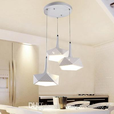 modern minimalist white iron led bar pendant light dining room coffee restaurant hanging lamp droplight 110-240V