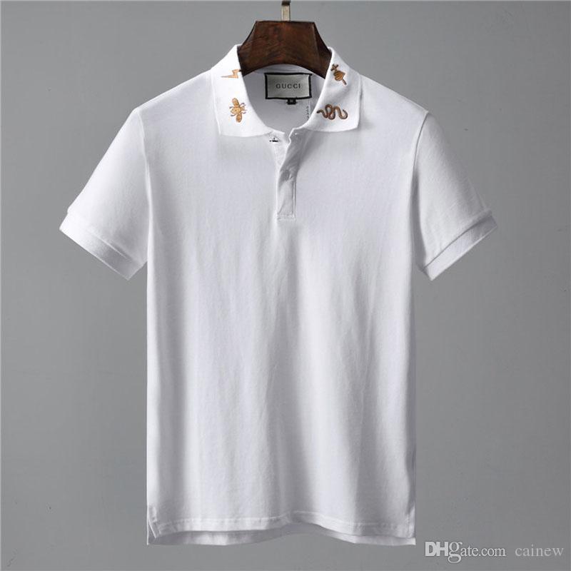 Camicia di polo degli uomini nuovi # 0311 Manica corta di cotone dell'uomo di alta qualità di estate di marca Mens degli uomini di affari casuali camice