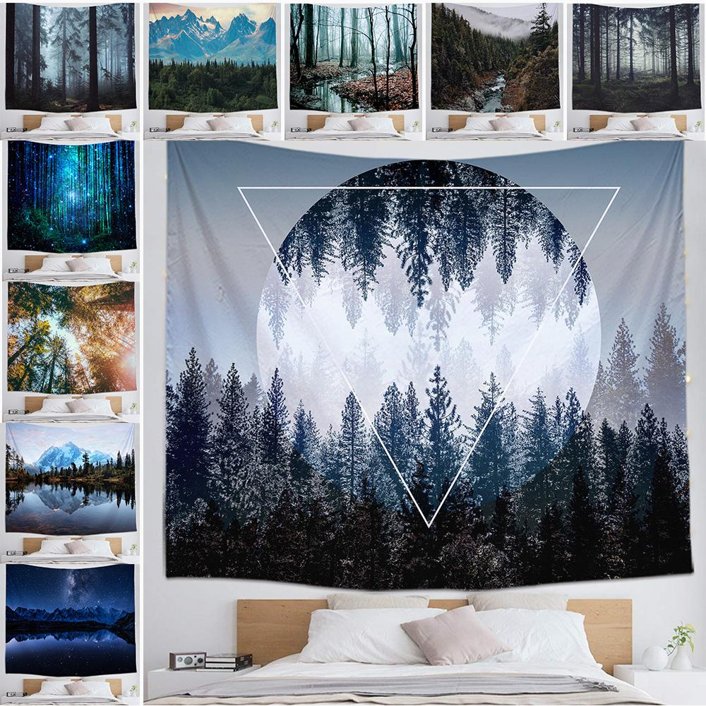 Forest Trees Tapestry Background Yoga Mat Home Cloth Beach Towel Living Room Decoration Wall decoration 150cm*130cm