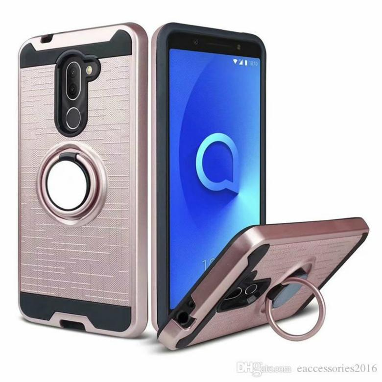 Metal Ploshed Ring Phone Case for Samsung J2 Pro 2018 A5 A8 A7 A8 Plus 2018 LG G7 Kickstand Desing Back Cover