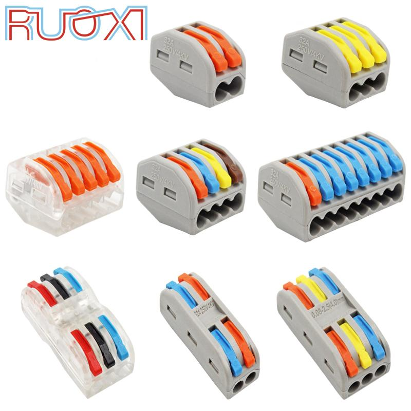 Connectors Wire Connector Quick Terminal Block Plug Adapter Gray / Transparent Color 32A RF, Lighting 30/50/100 Pieces Mini Universal