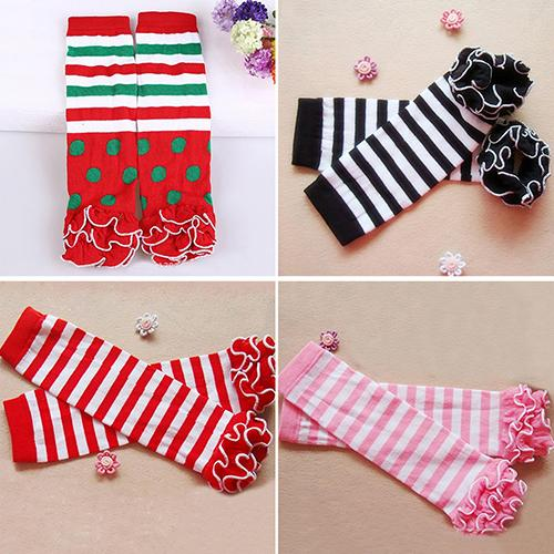 Child Toddle Girl Baby Ruffle Solid Color Striped Leg Warmer Christmas Xmas Gift