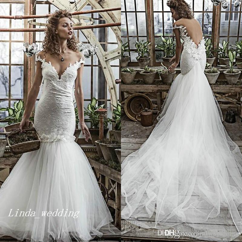 2019 spalle abito da sposa Mermaid di alta qualità fuori del merletto di Applique lungo illusione Abito da sposa Plus Size Custom Made Vestido De noiva