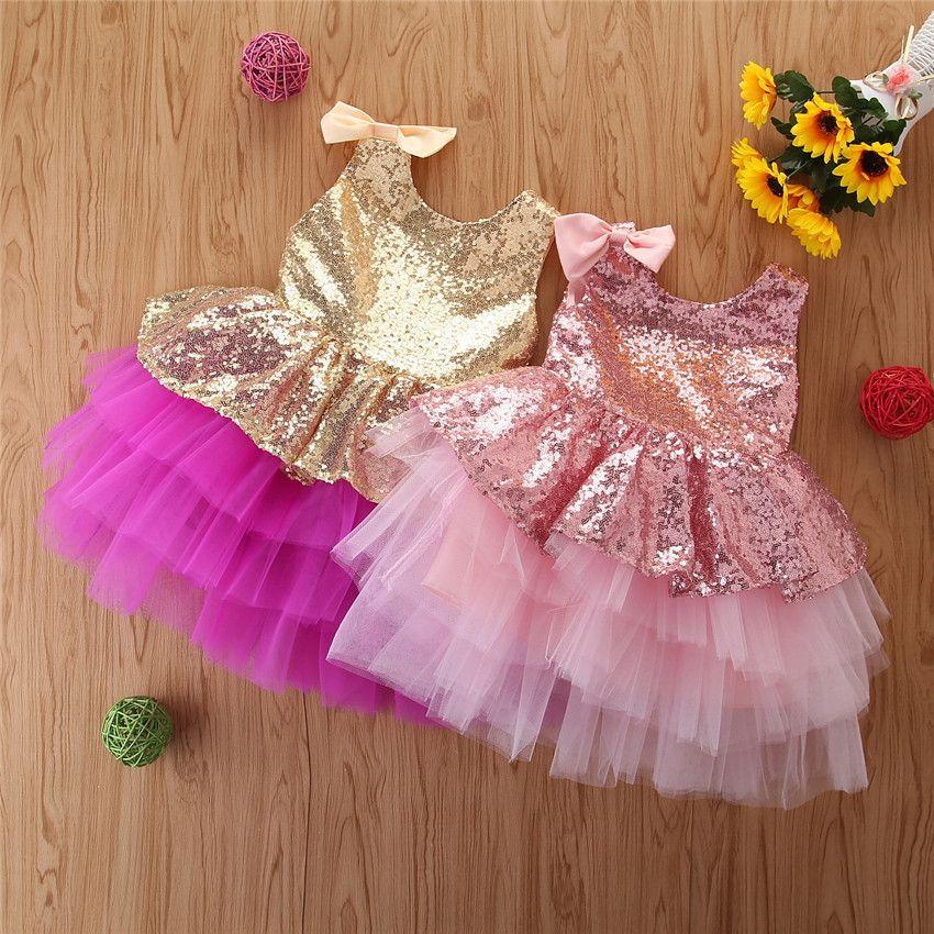 2020 Prinzessin Mädchen Big Bow Zurück Ärmel Bling Sequined Kleinkind-Kind-Mädchen-Kleid-Partei-Hochzeits-Kleid Kinderkleidung