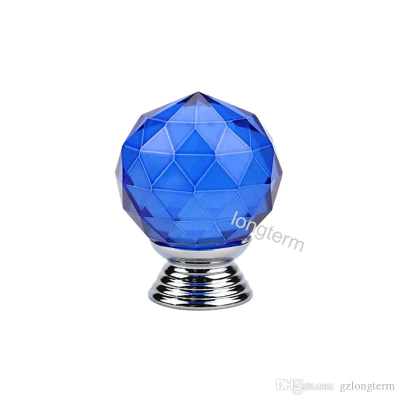 Gorgeous glittering royal blue drawer knob American style crystal door knob for children's room cabinet and closet
