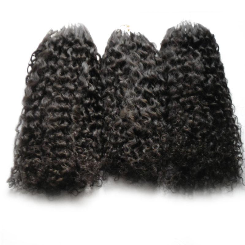 마이크로 링 헤어 익스텐션 afro 변태 곱슬 인간의 머리카락 번들 마이크로 루프 인간의 머리카락 확장 300s 마이크로 구슬 유럽 300g