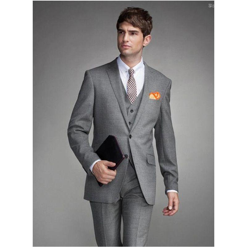 Nach Maß hellgraue Herren Hochzeitsanzüge Slim Fit Hochzeit Bräutigam Smoking für Männer Anzüge Bräutigam (Jacket + Pants + Vest) A100