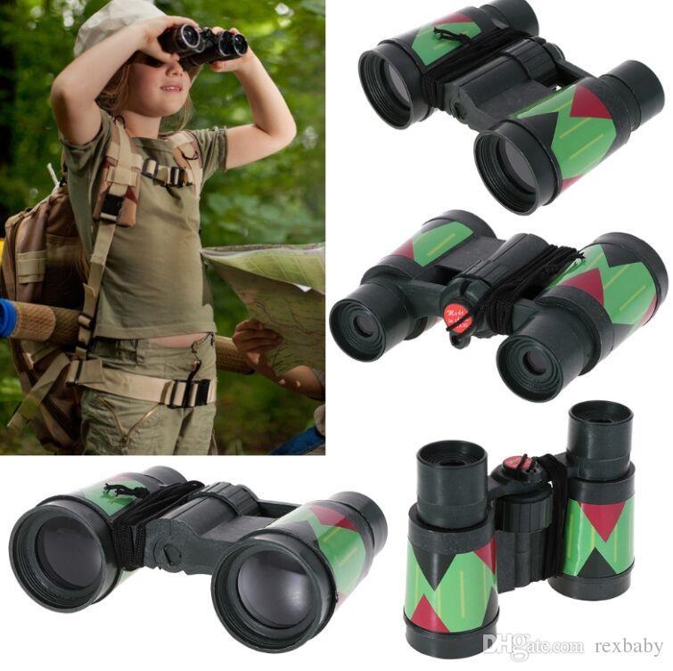 키즈 망원경 어린이 10x30 쌍안경 위장 야외 사냥 휴대용 로프
