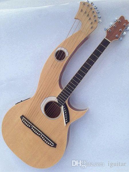 희귀 하프 기타 6 6 8 문자열 천연 목재 어쿠스틱 일렉트릭 기타 더블 넥 기타