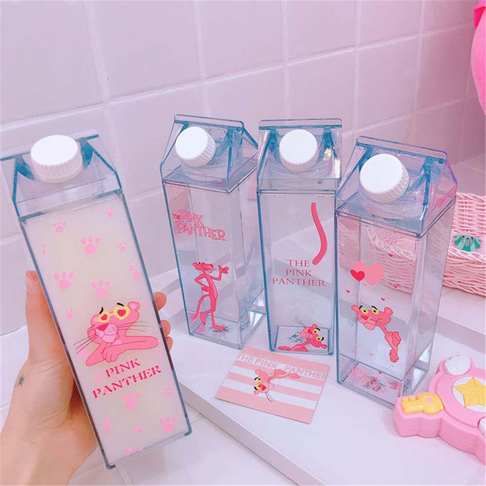 Unique Mini Cute Water Bottles Milk Box Shape Transparent Plastic Cartoon Pink Panther Drink Bottle Coffee Beer Drinkware Q190525