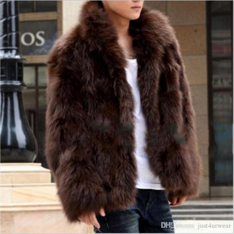 رجل الشتاء معطف الفرو فو باردة جديدة معطف دافئ أزياء براون معطف فراء أسود ذكر زائد الحجم S-XXXL