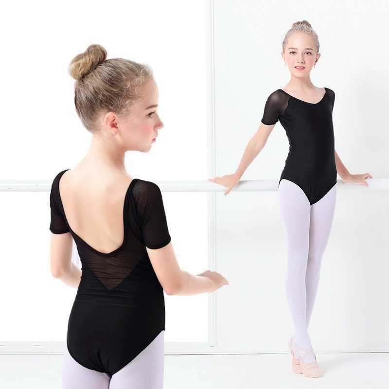 Stage Wear Girls Short Sleeve Ballet Gymnastics Leotard F Dance V-neck Bodysuit Ballerina Mesh Clothes Kids Unitard Dancewear