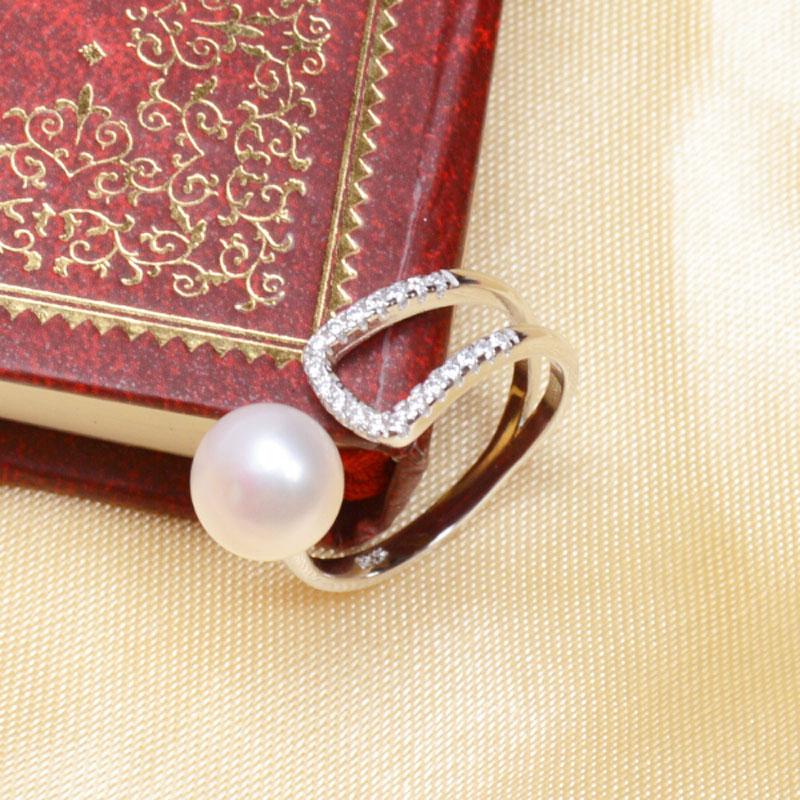 ASHIQI Natural pearl ring 925 Sterling Silver jewelry 7-8mm freshwater pearl For women white pink purple black