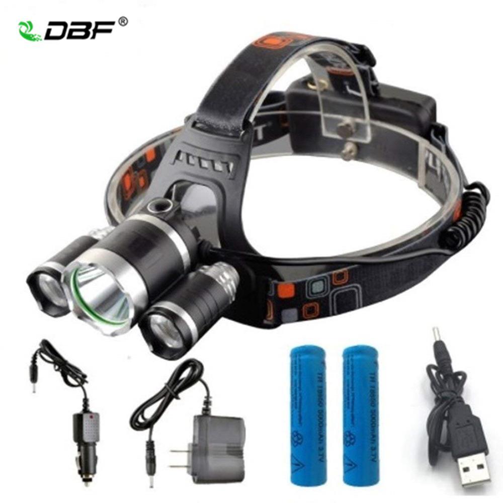 Caminhadas Camping 13000lm Led T6 + 2r5 Farol Farol Head Lamp Iluminação Luz Lanterna Tocha Lanterna Farol de pesca