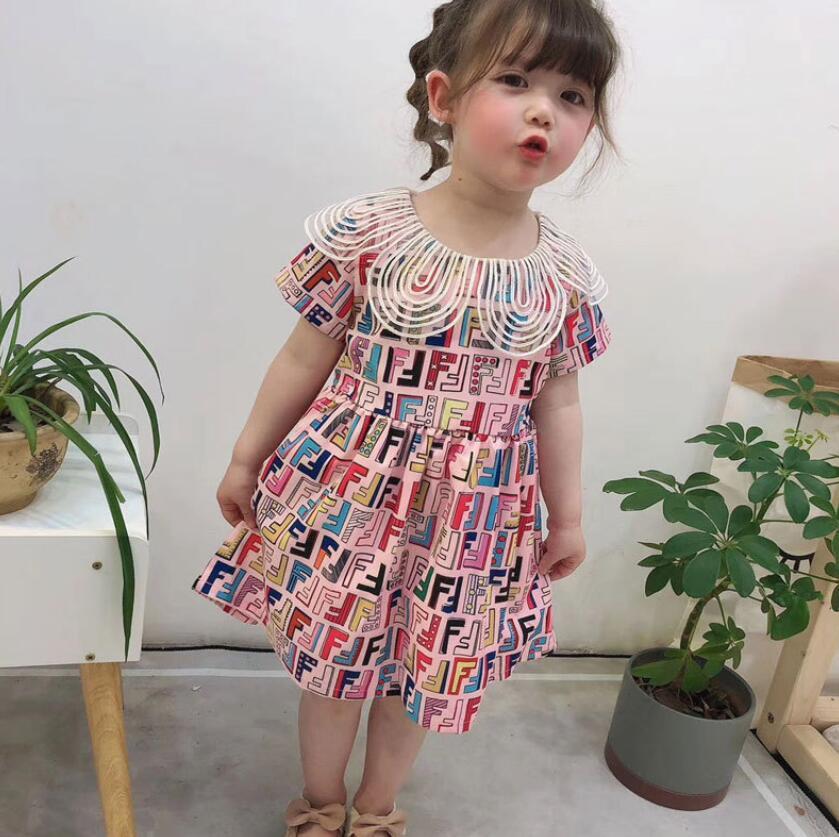 collare bambino filato di vetro stampa digitale principessa del pannello esterno del INS nuova ragazza vestito dei bambini nuova estate manica corta