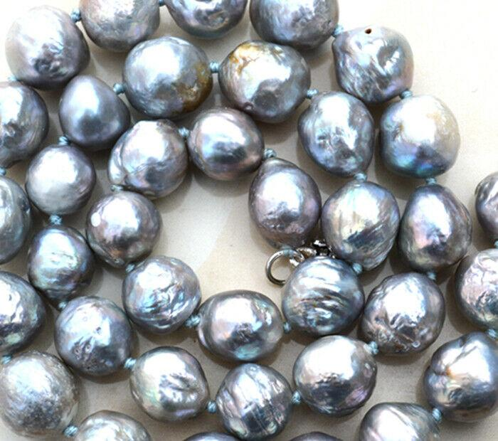 gorgeous baroque 10-12mm south sea grey pearl necklace 18 925 silver Clasp