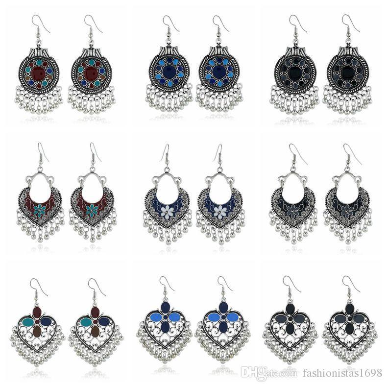 Vintage Bohemian metal ear hook earrings ethnic style oil drip colored Disc Heart tassel metal ball pendant long earrings