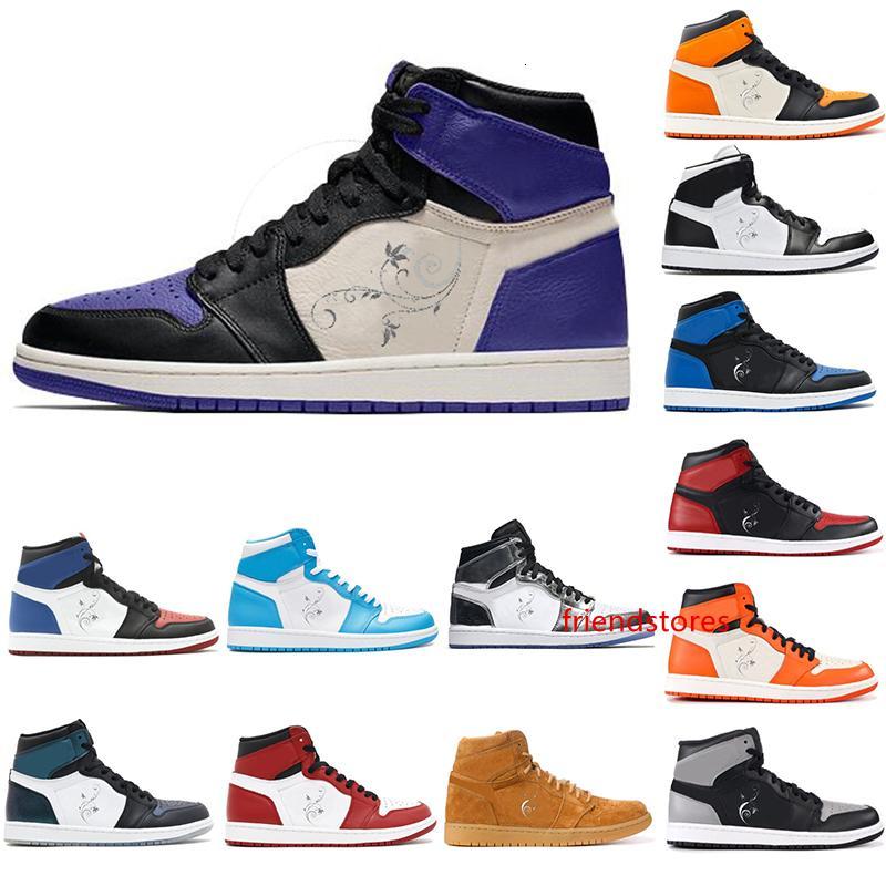 Alta OG 1 Top 3 Mens Basketball Shoes tribunal purp ouro Bred Toe Chicago Banido Royal Blue Fragmento UNC quebrado encosto Metallic Sneakers