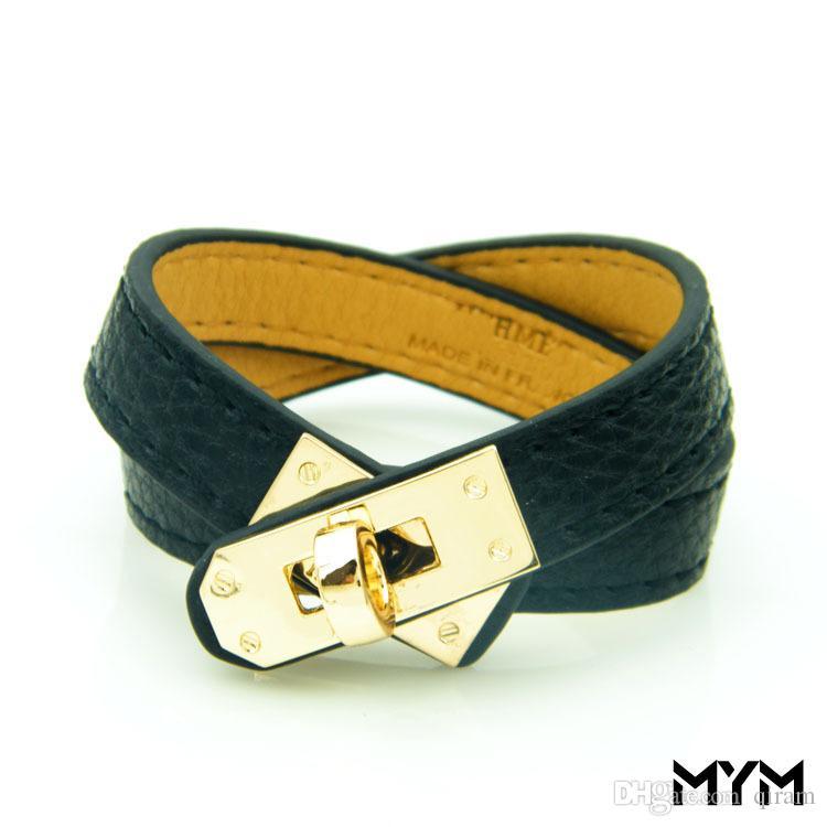 Neue intage Multilayer Pu Lederarmbänder für Frauen Stulpearmbänder Männer Gold Schnalle Armband Pulseras Hombre Männlich Zubehör Schmuck