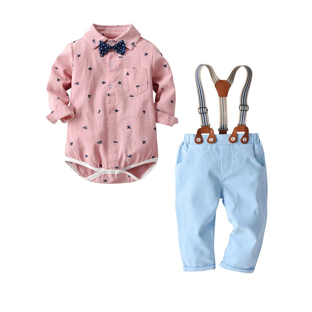 Qaziqiland Toddler Baby Boys Clothing Set Gentleman Long Sleeve Print Rompers Shirt+jeans 2pcs Outfits Newborn Boys Clothes Set J190520