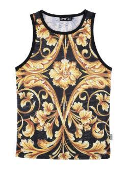 Мужчины летние топы 3D желтый цветок цифровой печати сетки жилет Джерси без рукавов футболки для мужчин fz0495