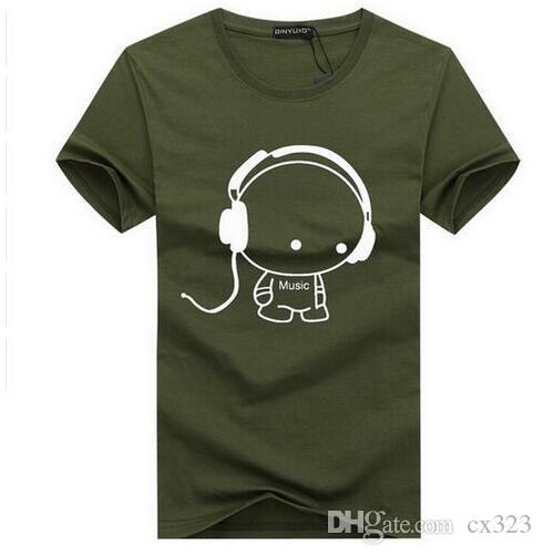En Kaliteli T Shirt Moda Kulaklık Karikatür Baskılı Rahat T Gömlek Erkekler Marka T-shirt Pamuk Tee Gömlek Artı Boyutu 5XL