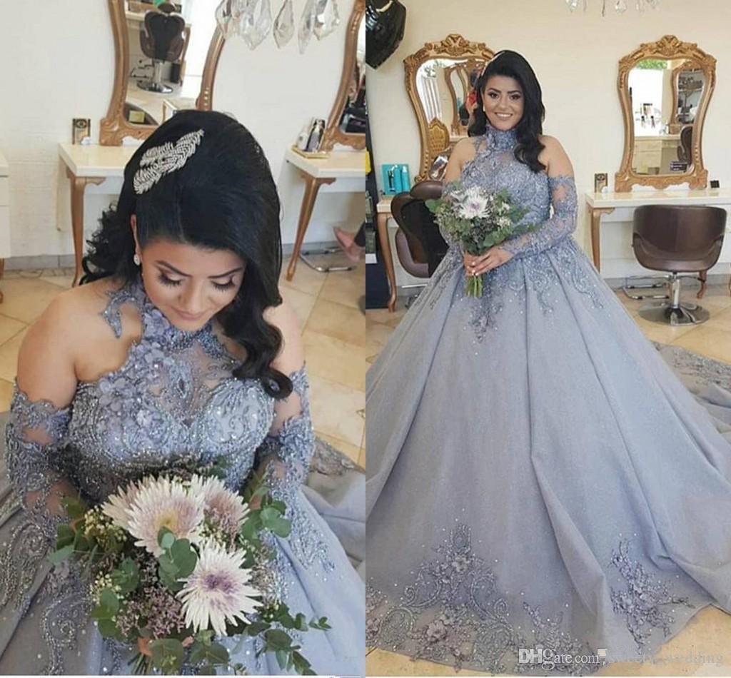 Artı boyutu Gümüş Prenses Gelinlik 2020 Modern Yüksek Boyun Dantel Boncuklu Sweep Tren Uzun Kollu Arapça Kilisesi Düğün