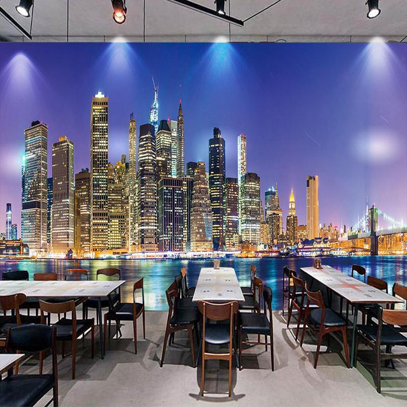 Dropship İl Gece Görüşü Özel Fotoğraf Duvar Kağıdı Dokumasız Papel De Parede 3D Salon Restoran Televizyon Arkaplan Dekor Duvar Duvar Kağıdı