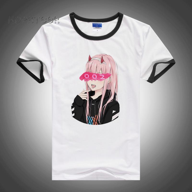 Impression numérique Streetwear Anime Girl Chéri Zéro TwoNew Homme T-shirts homme drôle unisexe hommes T-shirt décontracté à manches courtes T-shirt