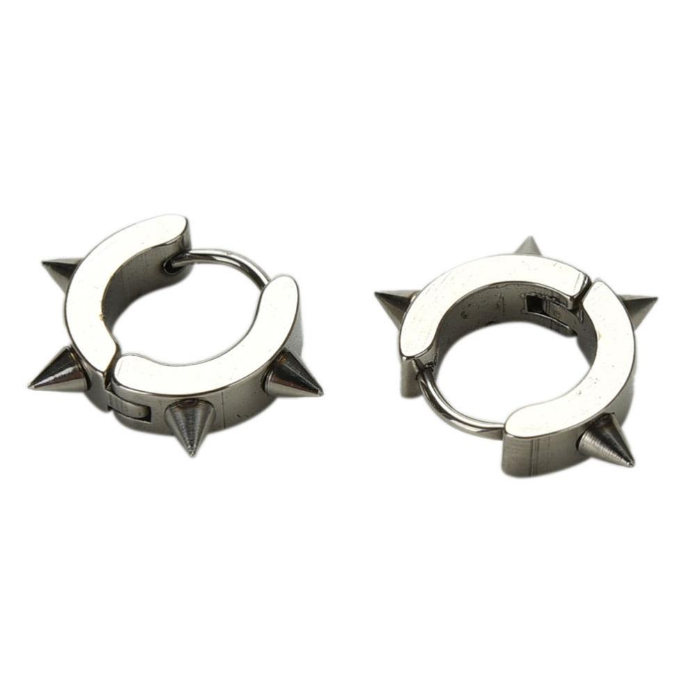Wholesale 1Pair Rivet Spike Stud Earrings For Women Men 316L Stainless Steel Black Rock Nail Punk Earrings Female Male Jewelry