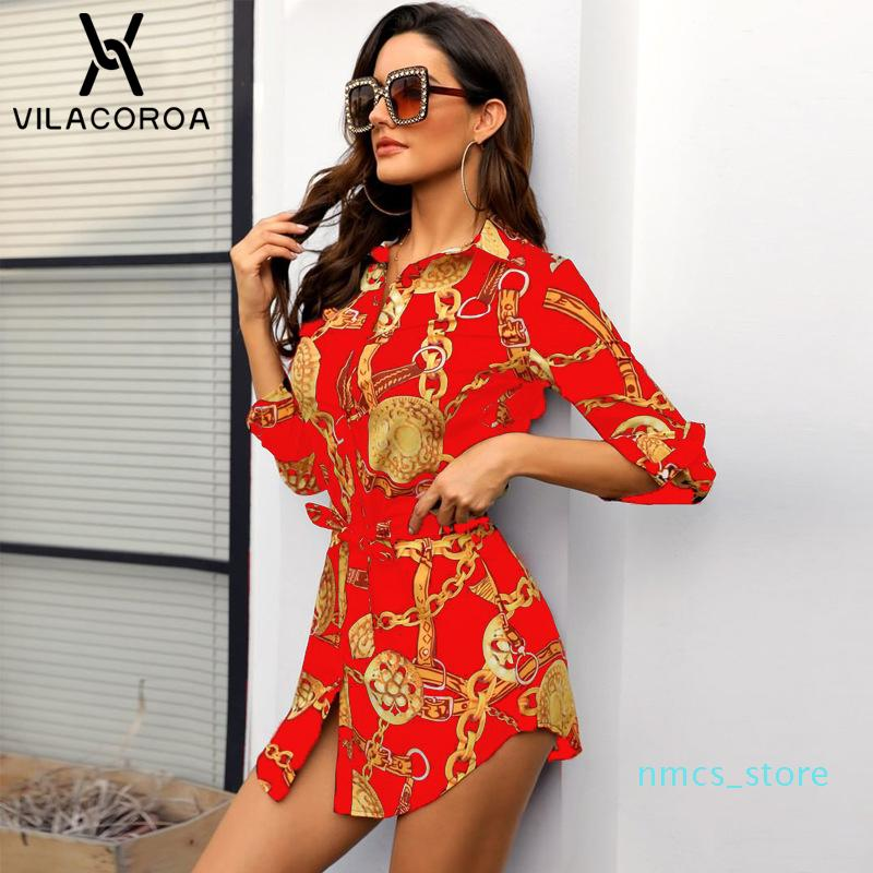 Sexy Middle Sleeve Chain Print Women Blouses and Tops Lapel Lace-Up Button Women Blouses Casual Top Blusas Chemise Femme Vestido XM01