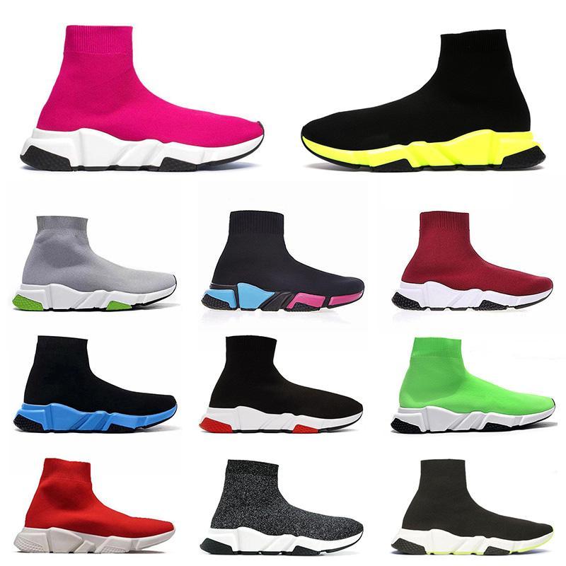 Socks 2020 Üst Moda Rahat Ayakkabılar Tasarımcı Çorap Paris Spor Ayakkabı Hız eğitmen Erkekler Kadınlar Örgü Lüks Platformu Yeni Sarı Siyah Çorap çizmeler Ayakkabı