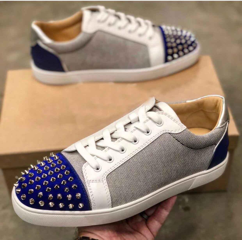 Blu in pelle di vitello di tela di Men Sneakers Low Top Seavaste Spikes Orlato piano casuale pattini inferiori rossi Perfetto Designer Walking EU35-47