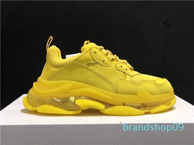Top moda de qualidade Designer Triple S Casual Shoes Men Verde Triple S Sneaker Mulheres Couro Low Top Lace-Up Casual Shoes Flat Limpar Sole 6hq
