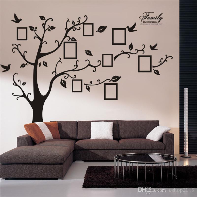 كبير شجرة الجدار ملصق اطار الصورة الأسرة DIY الفينيل 3D ملصقات الحائط ديكور المنزل غرفة المعيشة الشارات الجدار شجرة كبيرة سوداء بوست