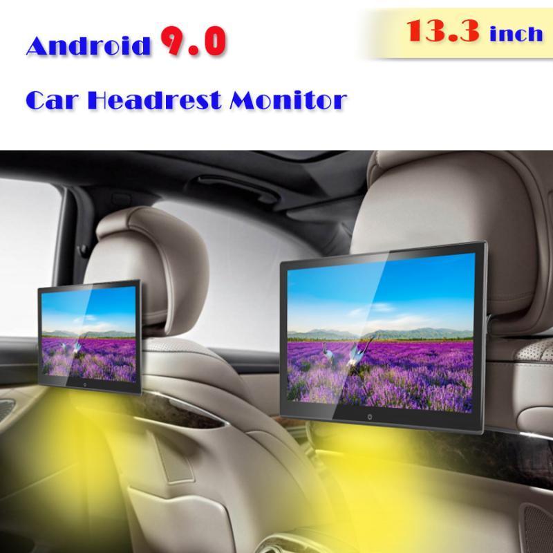 13.3 بوصة الروبوت 9.0 2GB + 16GB 1920 * 1080 سيارة مسند رأس مونيتور 4K 1080P MP5 WIFI / بلوتوث / USB / SD / HDMI / FM / مرآة لينك / Miracast