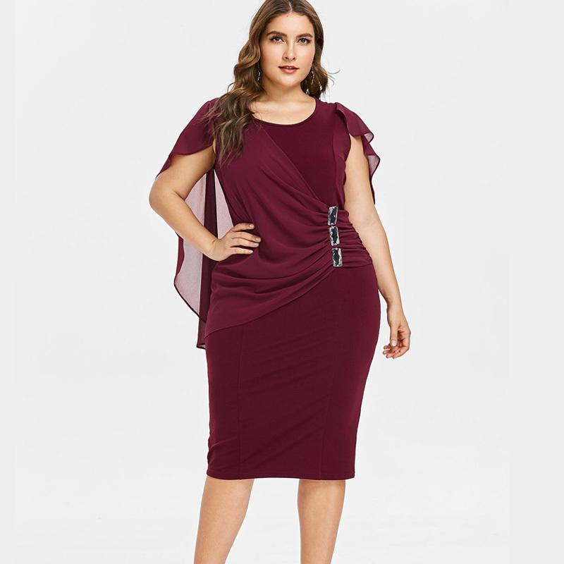 Wipalo Plus Size 5XL Capelet Knee Length Fitted Party Dress Women Sleeveless Scoop Neck Sheath Dress Rhinestone Overlay Vestidos T190608