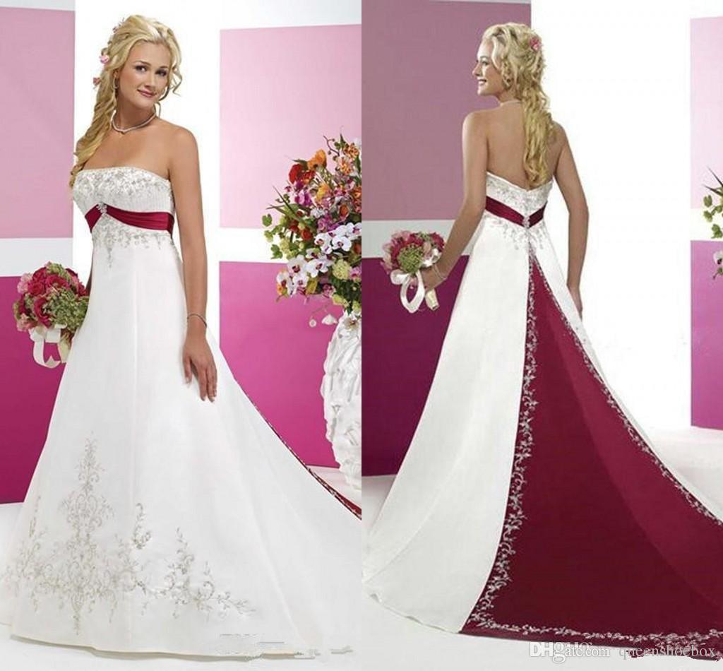 어두운 빨간색과 흰색 웨딩 드레스 겸손 Strapless 얼룩 자수 두 톤 스윕 기차 플러스 사이즈 국가 빈티지 신부 파티 드레스