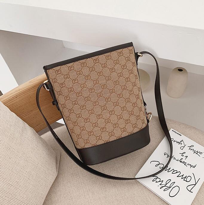 Calle tendencia de la tela escocesa de la bolsa de mensajero del diseñador simple-bolso de la mujer bolso de las mujeres de moda bolsa de color de contraste hombro impresión atmosférica