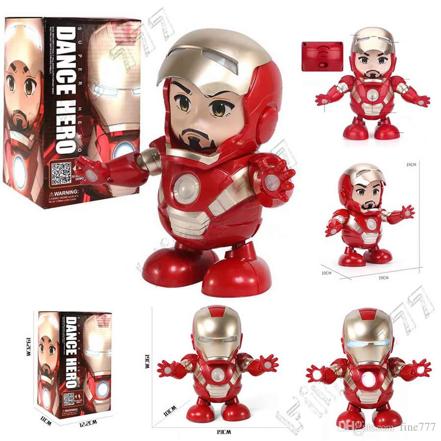 The Avengers Super Heroes dance iron Man With led and music Mech Model Toys Marvel Action Figure Does IN stock