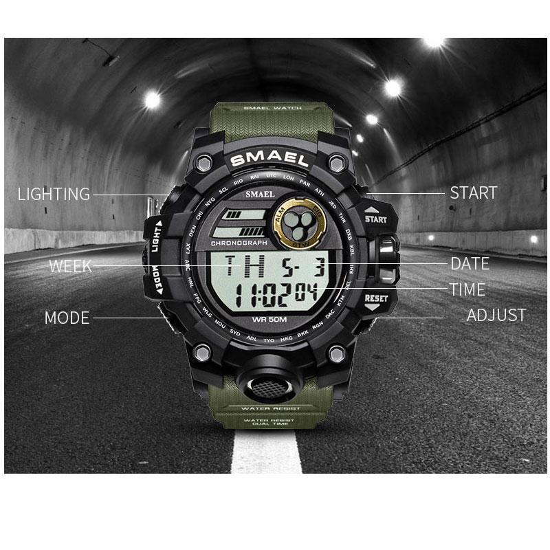 Men Watches Sport Military SMAEL S Shock Relojes Hombre Casual LED Clock Digital Wristwatches Waterproof 1545D Sport Watch Alarm