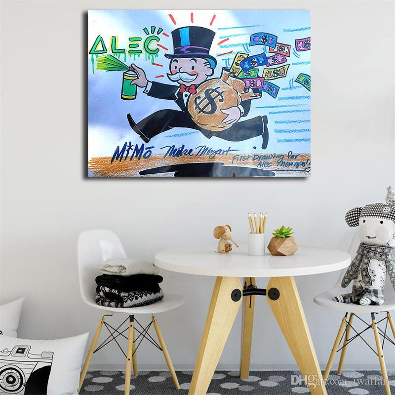 Scrooge Graffiti Artiste Affiche Alec Monopolyin Peinture À L'huile Mur Art Toile Affiches Affiches Paysage Mur Photos Bureau Chambre Chambre Décoration
