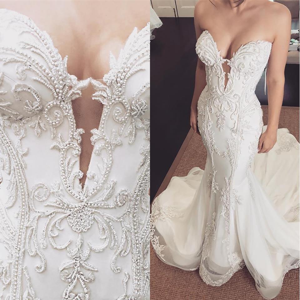 Perle della sirena del merletto arabo Abiti da sposa di Tulle dell'innamorato sexy vintage abiti da sposa a buon mercato abiti da sposa