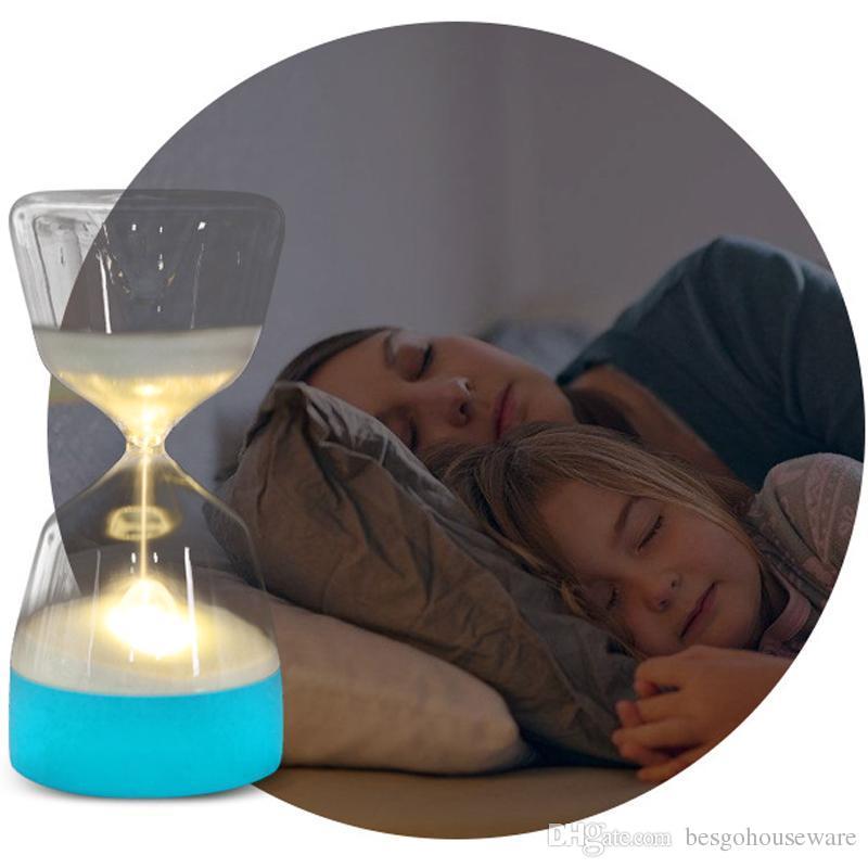 Mudança de cor Luzes Do Partido CONDUZIU Ampulheta Lâmpada de Noite Macia Do Bebê Criança Adormecida carga Inteligente USB Quarto Lâmpada de Cabeceira Presente Home Decor BC BH1076