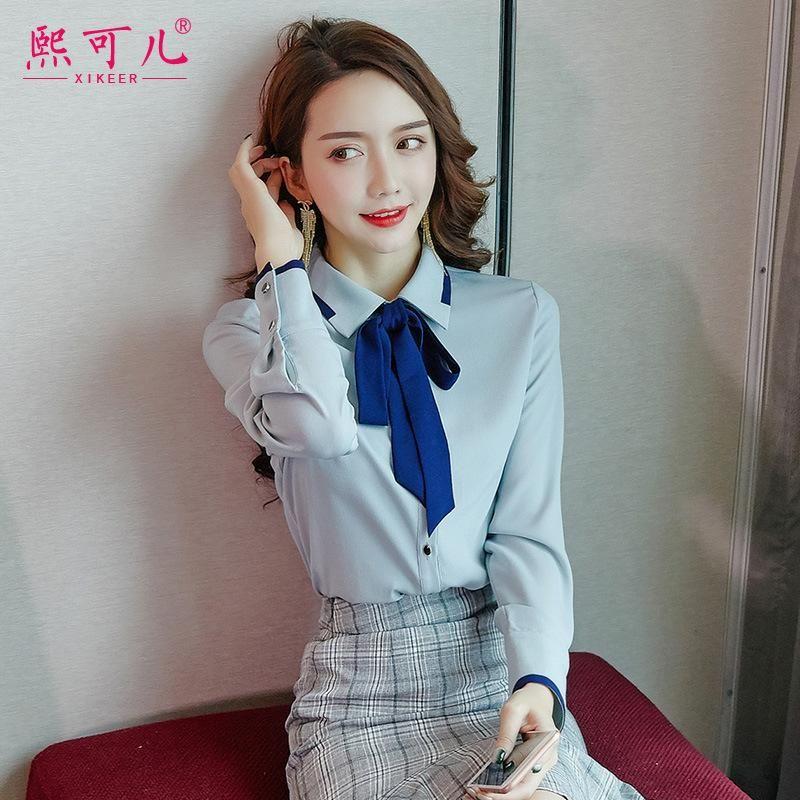 2019 осень нового прибытия шифоновые блузки CHIC начале осени Tops Корейский стиль Рубашка женщин с длинными рукавами Western Style Base Shirt Sl